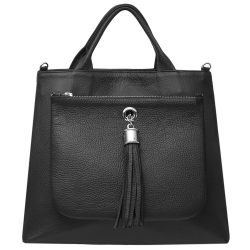 Dahlia Tote in Black Leather