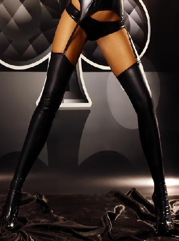 Wet-look stockings
