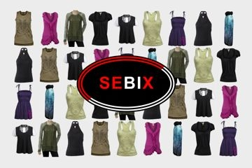 Sebix - logo with clothes in background