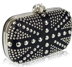 Black stud flag hard case clutch