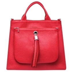 Dahlia Tote in Red Leather