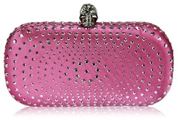 Pink satin hard case clutch with crystals