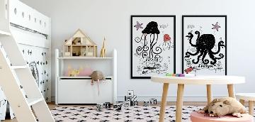 Sealife black and white wall art