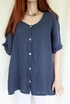 Womens Italian Linen Button-through Back Pleat Tunic